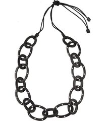 acacia wood with silver oval links necklace, women's, black, josie natori