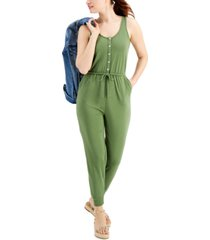 style & co petite drawstring-waist button-trim jumpsuit, created for macy's