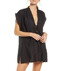 robin piccone michelle cover-up tunic, size medium in black at nordstrom