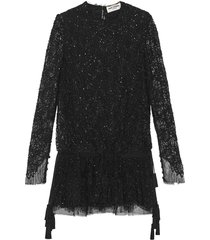 saint laurent dress in camellia lace with beaded and sequin embroidery