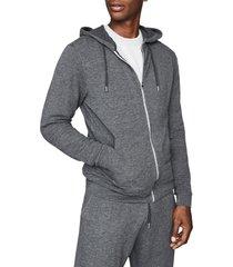 men's reiss greg slim fit zip-up hoodie, size large - grey