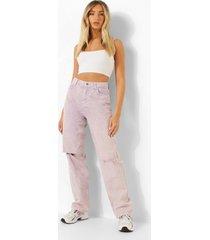 pastel wash boyfriend jeans met versleten knieën, lilac