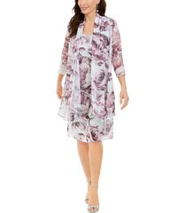 r & m richards petite floral-print dress & jacket