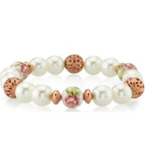 2028 rose gold tone simulated pearl purple flower filigree beaded bracelet