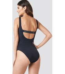 calvin klein square scoop one piece swimsuit - black