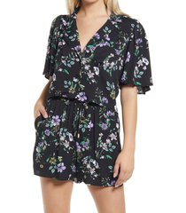 afrm marianna woven button-up shirt, size small in spring noir bouquet at nordstrom
