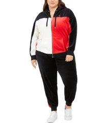 tommy hilfiger sport plus size active colorblocked velour zip-up hoodie
