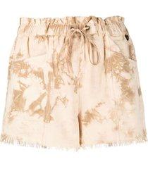 twinset tie dye drawstring shorts - neutrals