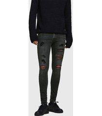 jeans jack & jones skinny tom negro - calce ajustado