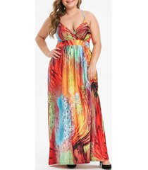 feather print shirred plus size cami dress