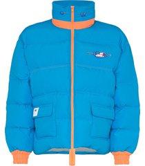 ader error contrast trim padded coat - blue