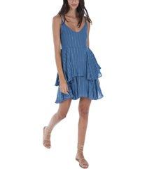 allison new york women's metallic stripe tiered mini dress