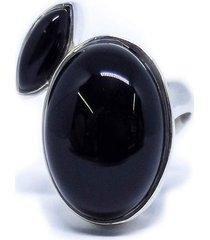 anel pedra dupla ônix prata 925
