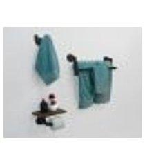 kit acessórios para banheiro conjunto 3 peças porta toalhas papel cabideiro estilo industrial preto laca