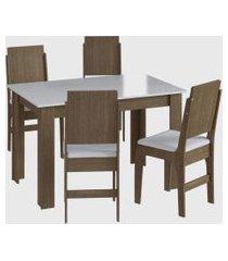 conjunto mesa fixa 4 cadeiras marrom móveis cançáo