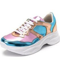 tenis sneakers chuncky toretto recortes rosa e azul metalizado