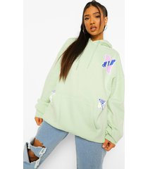 petite oversized varsity hoodie met opdruk, pale green