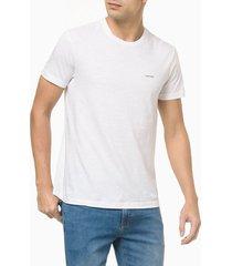 camiseta masculina slim minimalista flamê branca calvin klein - pp