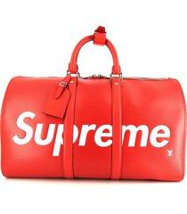 louis vuitton 2017 x supreme keepall travel bag - red