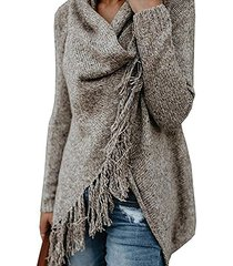 khaki tassel details long sleeves knit sweater