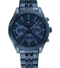 tommy hilfiger men's chronograph blue stainless steel bracelet watch 44mm, created for macy's