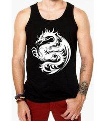 camiseta regata criativa urbana dragão tribal