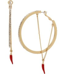 "jessica simpson chili pepper chain hoop earrings, 3"""
