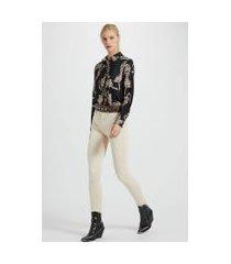 calça de sarja basic skinny high color bege victoria - 44