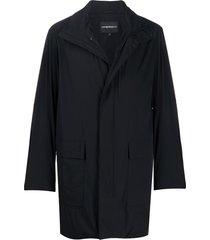 emporio armani funnel-neck mid-length coat - black