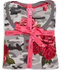 floral-print waffle fleece pajama set