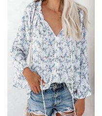 camicetta con scollo a v annodata a maniche lunghe in chiffon con stampa floreale