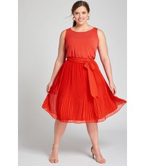 lane bryant women's mixed media pleated fit & flare dress 26/28 flame scarlet