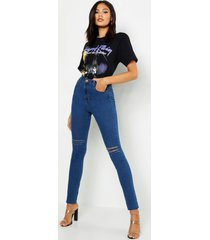 "lange distressed skinny jeans met hoge taille, pijp 35"", middenblauw"