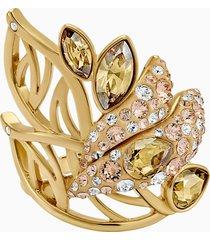 anello cocktail graceful bloom, marrone, placcato oro