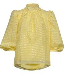 birgitte, 864 gingham poly blus långärmad gul stine goya