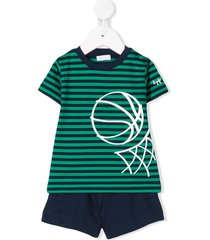 il gufo striped t-shirt and shorts set - green