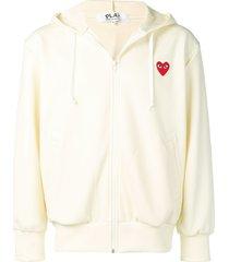 comme des garçons play heart patch zip-up hoodie - neutrals
