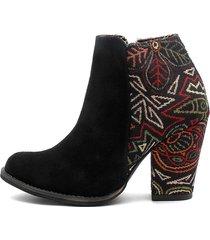 botín carnaza negro por lona heels.d