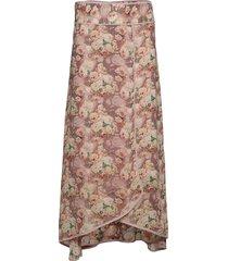 karine flower knälång kjol rosa line of oslo
