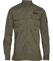 core military patched l/s shirt overhemd casual groen superdry