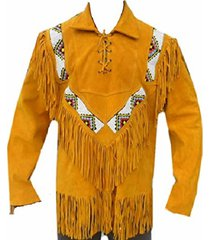 men's golden suede western cowboy leather jacket with fringe, and beads