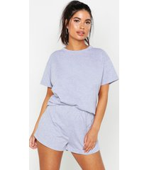 basic t-shirt en shorts set, grijs gemêleerd