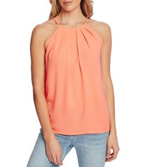 women's cece pleat halter top, size x-small - coral