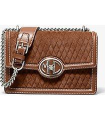 mk borsa a spalla monogramme piccola in pelle scamosciata trapuntata con catena - cuoio (marrone) - michael kors
