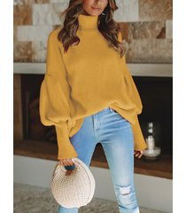 basic high cuello suéter con mangas de linterna