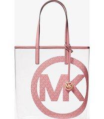 mk borsa tote the michael grande trasparente con ciondolo con logo - tea rose - michael kors