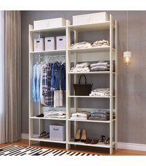 closet 10 prateleiras 1 cabideiro cbcla01 off white - completa móveis