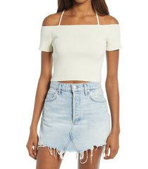 women's wayf deena off the shoulder rib knit crop top, size small - ivory