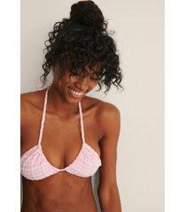 na-kd swimwear rutigt mönster trekantsbikini-topp - pink