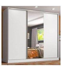 guarda roupa juvenil 100% mdf madesa kevin 3 portas de correr com espelho - branco
